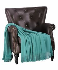"""BOON Knitted Glitter Throw Blanket Cover Coverlet, 50"""" x 60"""",  Blue Turquoise"""
