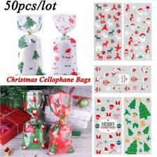 50X Merry Christmas Candy Gift Bags Xmas Cellophane Favour Santa Cello Cookies
