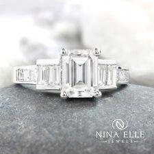 2.40ctw Forever One Emerald Cut Moissanite Diamond Engagement Ring