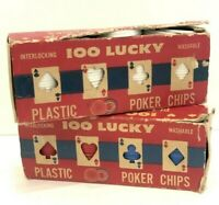 *VINTAGE* 100 Lucky Plastic Poker Chips - Washable - Interlocking - Made in USA