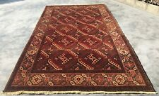 New listing Hand Knotted Vintage Afghan Turkmon Chopbash Wool Area Rug 9 x 6 Ft (9938 Bn)