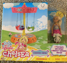 Barbie Chelsea Doll Carousel Swing Play Set Spins with Chelsea and Bunny NEW