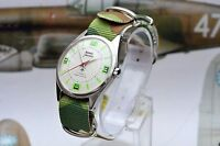 Vintage HMT Jawan Hand Wind Men's Military Watch with White Dial Camo Strap