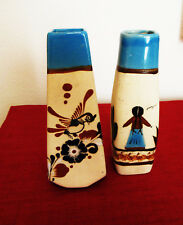 Tonala Stoneware Mexican Pottery Hand Painted & Signed Set of Two