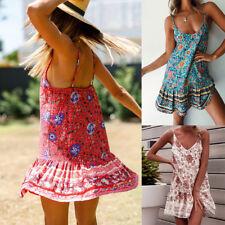 AU Women's Sexy Boho Floral Summer Party Evening Beach Short Mini Dress Sundress