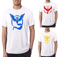 Mens T-Shirts Team Valor Mystic Instinct Casual Tee Tops Crew Neck Summer White