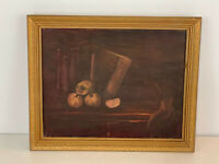 Vintage Still Life Oil on Board Painting of Fruit & Books
