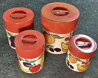 Vintage 1940s Set Of 4 Tin Metal Nesting Canisters Fruits Kitchen Decor Grape AT