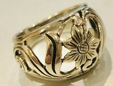 Domed Art Nouveau Style Sterling Silver Flower Ring Size J