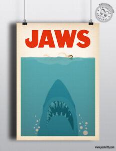 JAWS Minimalist Movie Poster Posteritty Minimal Film design Print