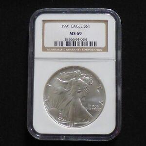 1$ Silver Eagle 1991 MS69 (NGC)