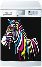 Sticker lave vaisselle déco cuisine électroménager zèbre coloré réf 662 60x60cm