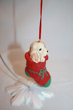 PUPPY DOG in RED STOCKING Christmas Tree Ornament Green Toe Bow Resin