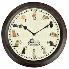 Round Kitchen Childrens Wall Clock with Cat Sounds Noises Pictures 30cm