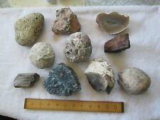 4 Uncut Unopened Geodes & 6 Other Interesting Rock Samples - VGC