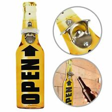 Retro Wooden Beer Bottle Shaped Wall Mounted Drinks Cap Top Opener Novelty Gift