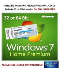 Win 7 Home Premium 32bit or 64bit - Genuine Product Key ONLY - Activate on-line