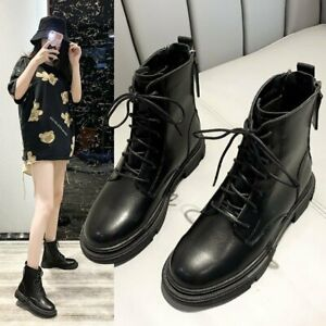 Womens Round toe Lace up High top Punk Casual Shoes Combat Knight Ankle Boots SZ