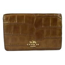 Coach Madison Embossed Croc Leather Compact Slim Wallet 51973 Bronze