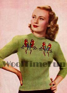 Knitting Pattern Vintage 1940s Lady's Jumper/Love Birds/Parrots. 34-36 Inch Bust