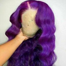 Luxury Lace Front Remy Wavy Purple Glueless Body Wave Full Lace Human Hair Wig