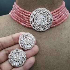 Indian Bollywood Choker CZ AD Wedding Fashion Jewelry Necklace Rose Gold Plated