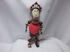 Vintage Selini African King Warrior Coral Cab Figural Man Rhinestone Brooch Pin
