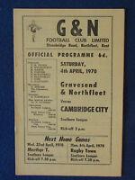 Gravesend & Northfleet v Cambridge City - 4/4/70 - Programme