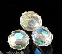 SP 1000PCs Clear AB Color Round Faceted Acrylic Crystal Spacer Beads 6mmx6mm Dia