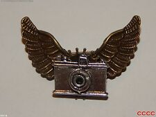 Steampunk brooch badge owl wings cog Harry Potter silver camera photographer tog