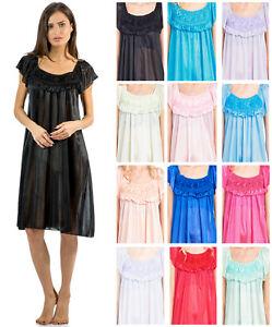 Casual Nights Women's Cap Sleeve Flower Silky Satin Tricot Slip Sleep Nightgown