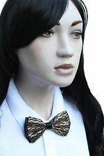 Black Gold Dicky Bow Geek Waitress Japan School Girl Cosplay Pre Tied Bow Tie