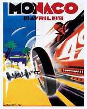 MONACO 1931 STREET CIRCUIT CAR RACE GRAND PRIX 8X10 VINT POSTER REPRO FREE S/H