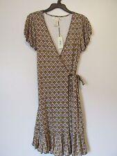 Studio M Brown/Yellow Fan Leaves Cap Sleeve Knee Length Wrap Dress NWT SZ. S