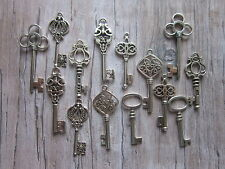 28 antiqued silver tone skeleton keys wedding vintage style  pendants charms mix