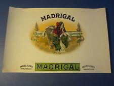 Original Old Antique - MADRIGAL - CIGAR LABEL - Harp / Musical Instrument