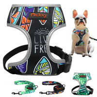 Reflective Padded Dog Harness and Leash Set Adjustable Pet Vest French Bulldog