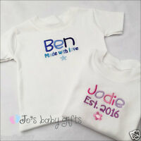 Personalised Embroidered Baby T-shirt, Unique Gift, Any Text,
