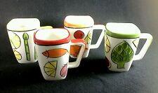 4 Mugs 11 oz. Jennifer Brinley Certified Int'l. Made China Red Yellow Orange Gre