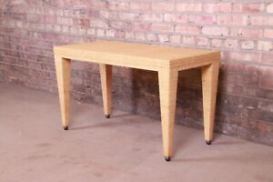 Baker Furniture Milling Road Organic Modern Woven Rattan Coffee Table