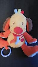 doudou peluche chien orange jaune Tim et Lily musical HS NATTOU 19cm