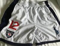 Vtg Ralph Lauren England RL 2010 White Navy Polyester Gym Short Mens Medium
