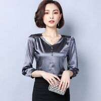 Lady Satin Faux Silk Shirts Tops Blouse V Neck Shiny Plain Pullover Soft Elegant