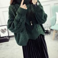 Lady Sweater Chunky Jumpers Cable Knit Turtleneck Thicken Pullover 4 Colour Tops