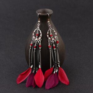 Charm Vintage Women Bohemian Boho Long Red Feather Tassel Drop Dangle Earrings