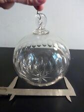 Grande boule cristal taillée XIXe - 13 cm diamètre - Pampilles lustre cristal