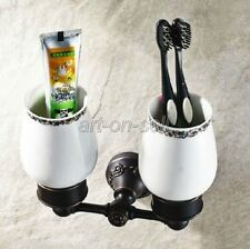 Bathroom Black Oil Brass Wall Mounted Toothbrush Holder & Ceramic Cup aba451