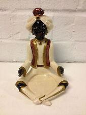 Vintage 1979 Fitz and Floyd Ceramic Blackamoor Genie Nubian Figure Candle Holder