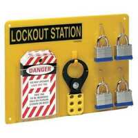 BRADY LC203G Lockout Station,Filled,4 Locks,Blk/Ylw