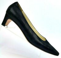 Salvatore Ferragamo Black Textured Suede Pumps Made in Italy Women's 8.5 B